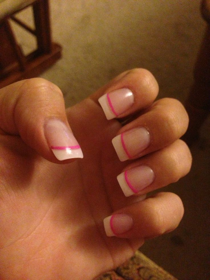 Attractive French Tip Nails With Pink Line Pattern - Nail Art Ideas ...