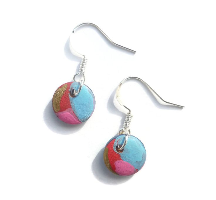 Red Blue Earrings, Hand Painted Earring, Unusual Earrings, Blue Drop Earrings, Handmade Jewelry, Dangle Earrings, Gift For Her by Larryware on Etsy