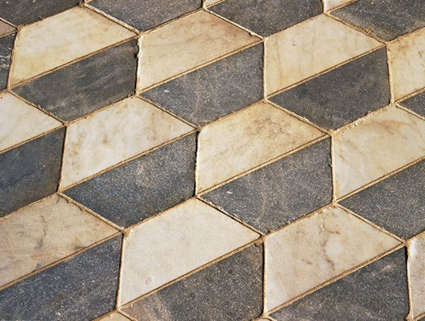 Antique Marble Floors In A Hexagonal Checkered Pattern