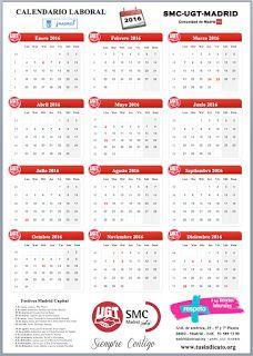 REDACCIÓN SINDICAL MADRID: INFO-FLASH- Calendario laboral 2016 Madrid