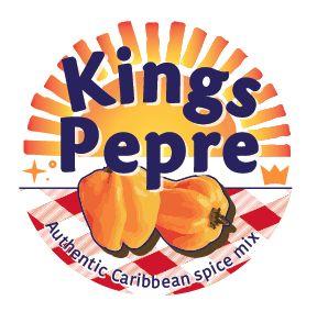 ontwerp Kings Pepre logo, opdracht klant uitstraling: liefde / familie / eten / gezelligheid / tropisch / caribieen gebruik op 26 mm sticker. Voor op strooibusjes