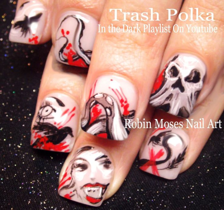 96 best dark nail art pictures and tutorials images on pinterest nail art diy trash polka nails red black punk nail design tutorial prinsesfo Images