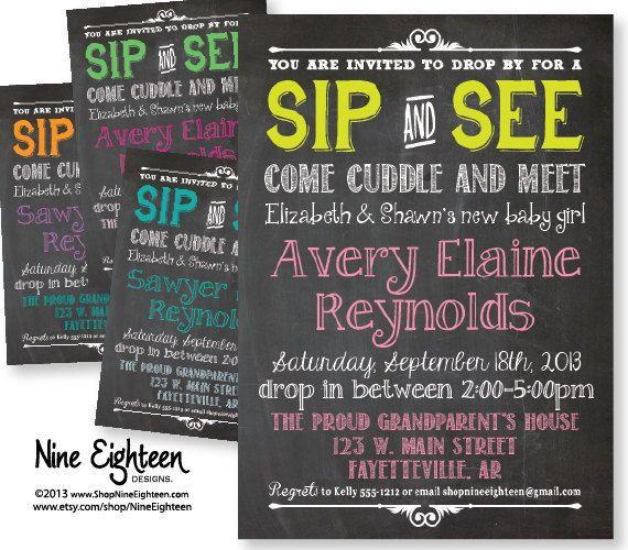 Sip & See Baby Shower Invitation. Chalkboard by NineEighteen, $12.00