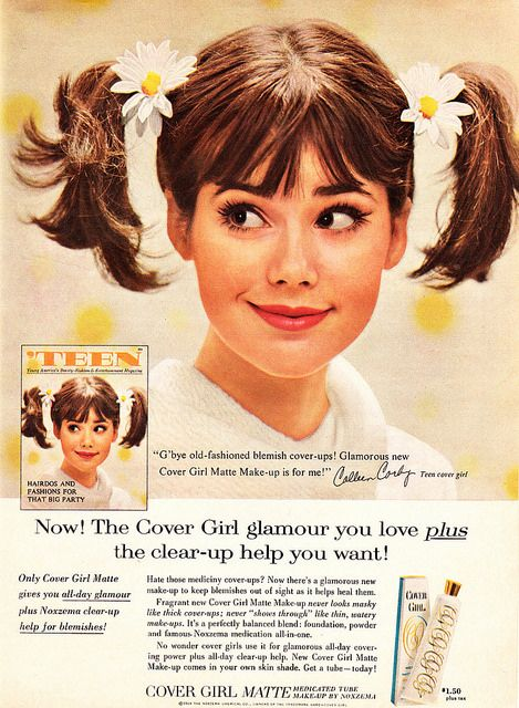 thepieshops: 1965 Beauty Ad, Cover Girl Matte Make-up, with Teen Cover Girl Colleen Corby by classic_film on Flickr. Vintage 1960s magazine...