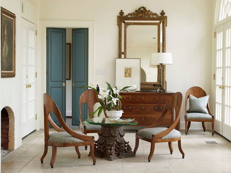 French Antiques And Modern Art Brown Dining RoomsLaundry