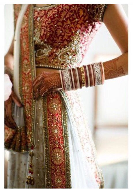 Red, white, pink wedding lengha and chura