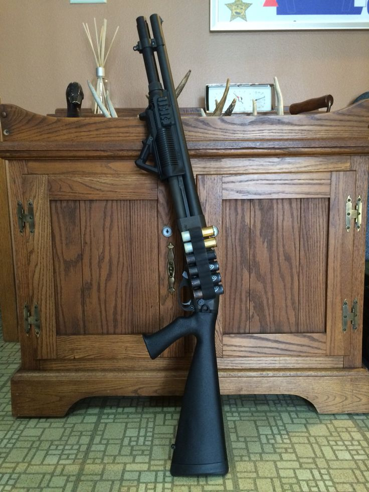 "Remington 870 Express Magnum, Mako PR-870 Handguard, Magpul AFG, Mesa Tactical Side Saddle, Speedfeed IV 13"" Tactical Stock, GG&G QD Sling Mount"