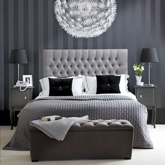 Monochrome chic bedroom. Decorate with black and white for a beautiful bedroom that oozes hotel style. Dramatic black walls can work if you choose a pale carpet or flooring to lighten the look. Go for an upholstered button-back headboard for a smart but soft look, then layer the bed with quilts in grey and charcoal to soften the look further with texture.