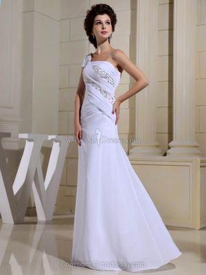 A-line One Shoulder Chiffon Floor-length Ruffles Prom Dresses