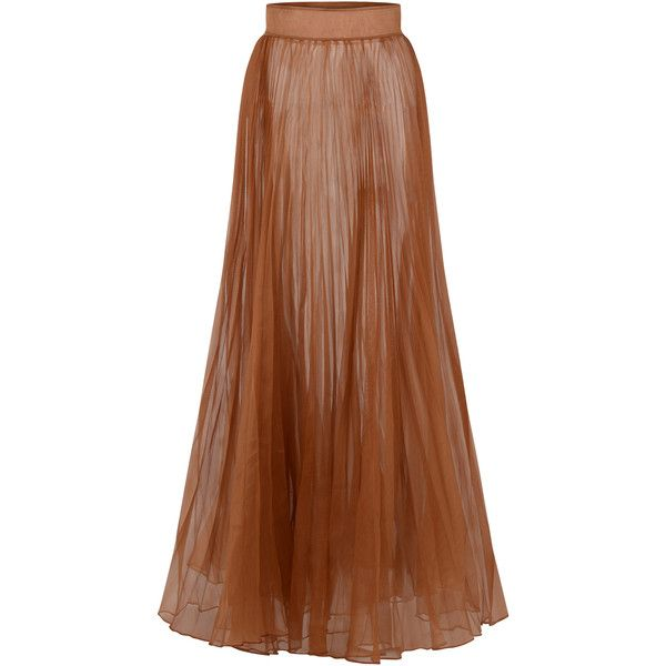 Onalaja Dana Skirt (1,875 CAD) ❤ liked on Polyvore featuring skirts, brown, brown maxi skirt, high waisted maxi skirt, high waist long maxi skirt, high-waisted maxi skirts and long silk skirt