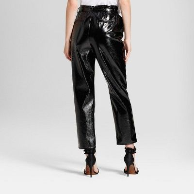 Women's Tapered Leg Patent Paperbag Trouser - Who What Wear Black 14