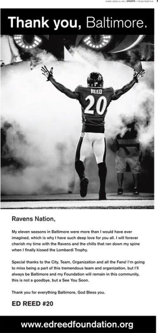 Ed Reed salutes Ravens fans with full-page ad  My heart is still bleeding over the loss of my favorite...Sundays won't be the same. Still thankful for all the memories #20.