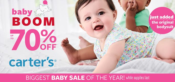 Baby Boom! Take up to 70% #off.  Store: #Carter's Scope: Entire Store Ends On : 04/25/2018  Get more deals: http://www.geoqpons.com/Carters-coupon-codes  Get our Android mobile App: https://play.google.com/store/apps/details?id=com.mm.views  Get our iOS mobile App: https://itunes.apple.com/us/app/geoqpons-local-coupons-discounts/id397729759?mt=8