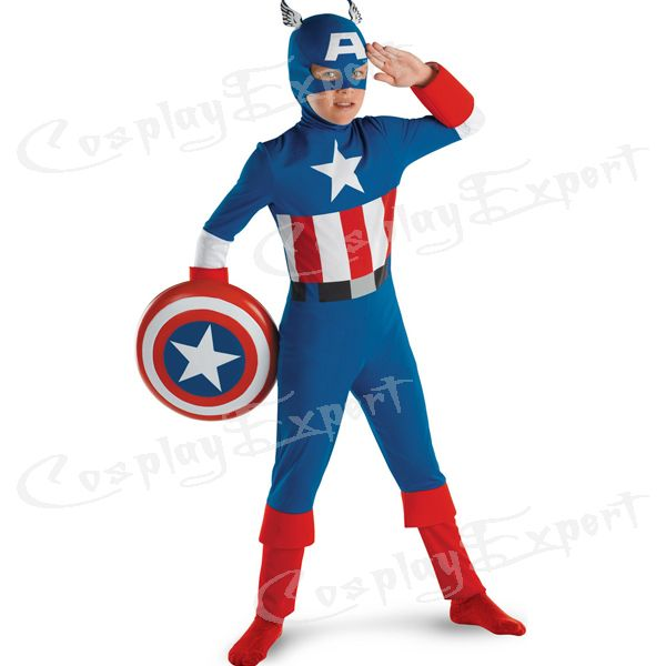 Free Shipping DHL Cheap Wholesale Captain America Classic Child Costume Kids Halloween Costume Kids Halloween Costume DG011 Price: USD 55.99 | United States
