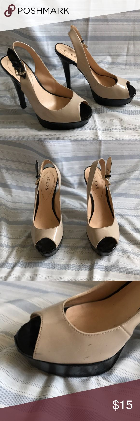 Guess two tone heels Guess two tone heels size 8. Minor scuffing shown in pictures Guess Shoes Heels