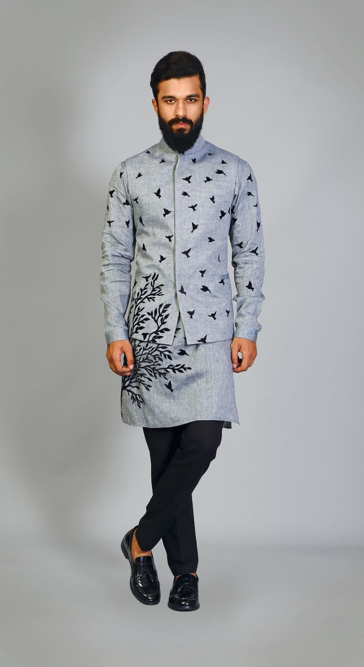 Greyblack #birds #trees #nature #applique #technique #fashion #cool #young #sadri #kurta #pants #fun http://puneetandnidhi.com/