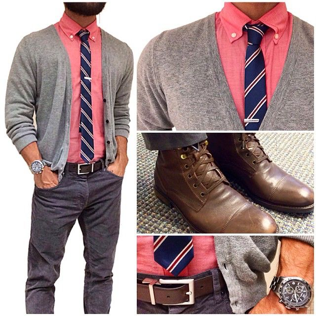 "Today's fit | a-cord-ing to hump day  Going with a grey fit today  in cords! Corduroy pants are no longer only for your grandpa, they come in slim modern fits now that look sleek and yet still laid back. Pairing my with a ""preppy teacher"" chambray shirt, stripes tie and cardigan combo. The color on the shirt and tie are the much needed subtle touch of color to offset the overall darker fit."