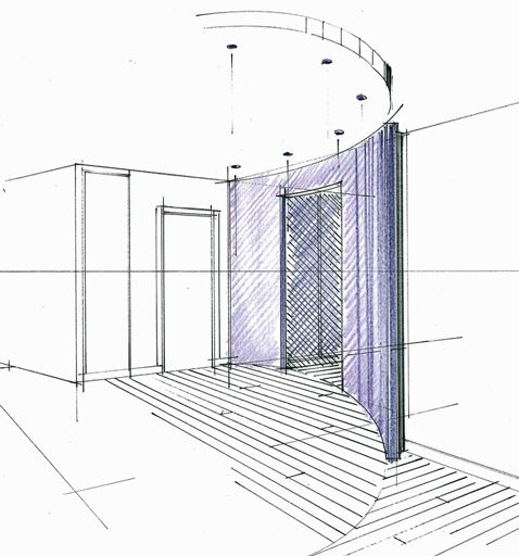Croquis d'une cloison cintrée en séparation des espaces de vie dans un appartement. Philippe Ponceblanc Architecte d'intérieur