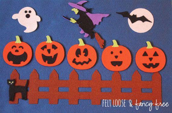 5 Little Pumpkins Felt Board / Halloween Felt Story Set / 12-piece Set & Board / October, Fall, Jack O' Lantern, Halloween Songs and Rhymes