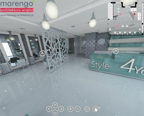 projekt salonu fryzjerskiego w Krakowie, więcej na: http://marengo-architektura.pl/portfolio/salon-fryzjerski-spacer/