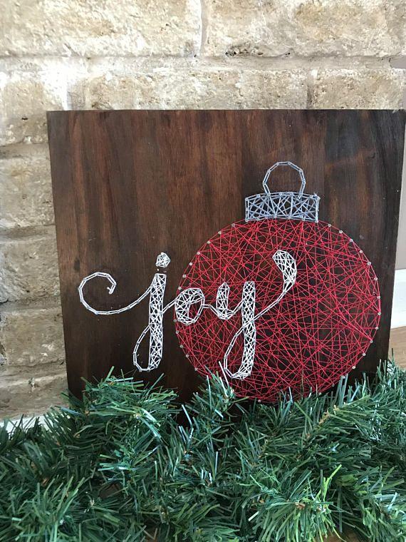 Joy string art, christmas, wall decor, wood sign, nail art