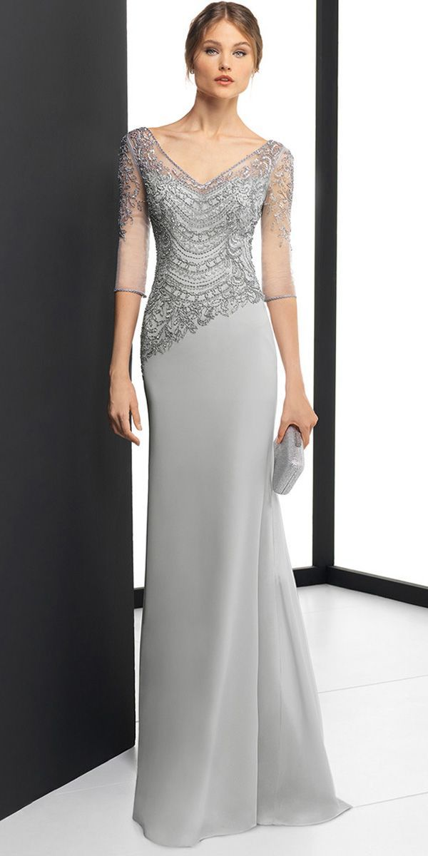 [167.00] Delicate Chiffon V-neck Neckline 3/4 Length Sleeves Sheath / Column Evening Dress With Beaded Embroidery