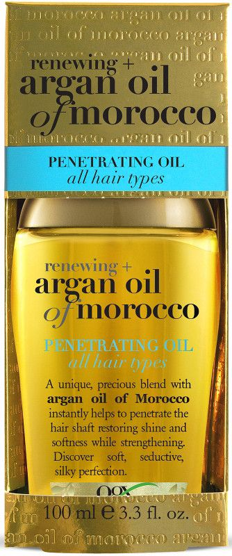 OGX Renewing Argan Oil Of Morocco Penetrating Oil -- This rare formula has a centuries-old history of providing natural vitamin E and antioxidants while renewing your hair's cell structure, sealing in shine, and creating lush softness. A precious blend of Moroccan argan oil which instantly penetrates the hair shaft restoring shine and softness while strengthening.