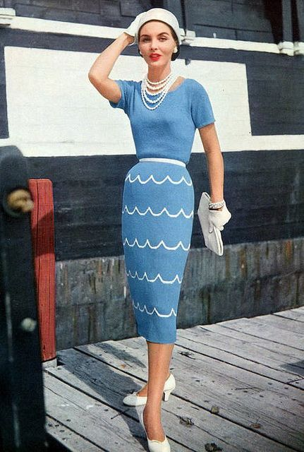 1955 Blue sweater and skirt, pearls, hat and gloves....all a necessity when women were going out.