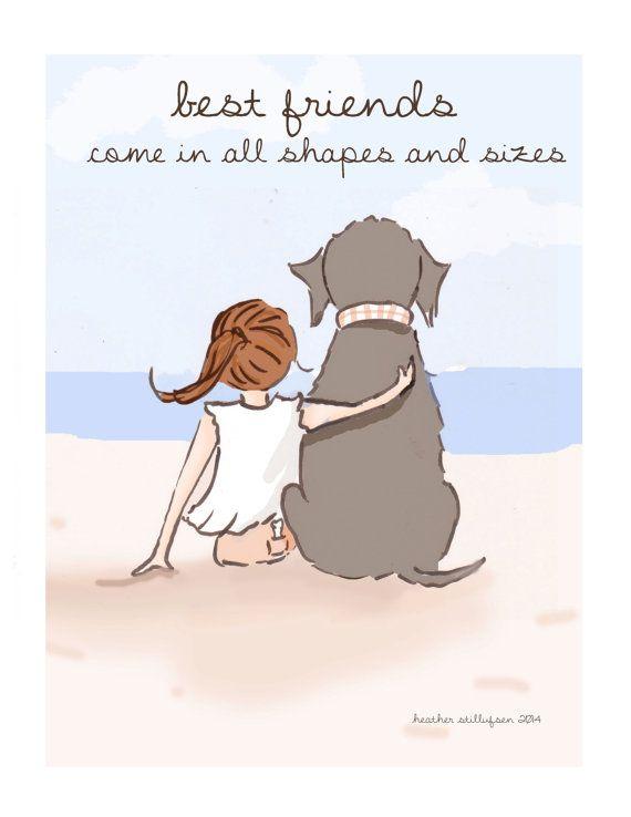 Kunst van de hond beste vrienden komen in door RoseHillDesignStudio