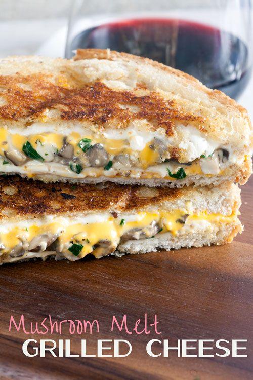 Sauteed mushroom, cheddar, and mozzarella grilled cheese recipe