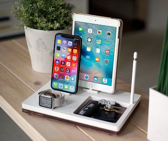 tray 3 white charging station wireless iphone xs xr 8 ipad pro watch pencil airpods