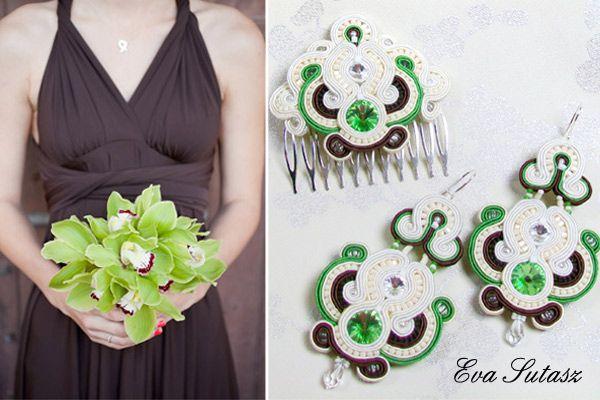 """Komplet biżuterii """" Cream, brown and green"""" sutasz (soutache)"""