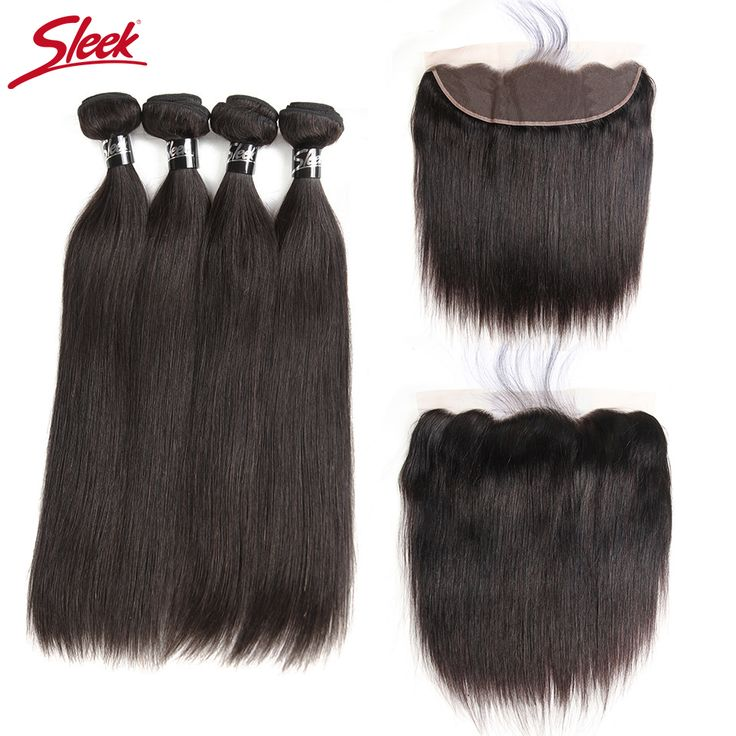 Sleek Malaysian Straight Hair Lace Frontal Closure With Bundles Free Ship Remy Human Hair Weave 4 Bundles With Frontal Closure