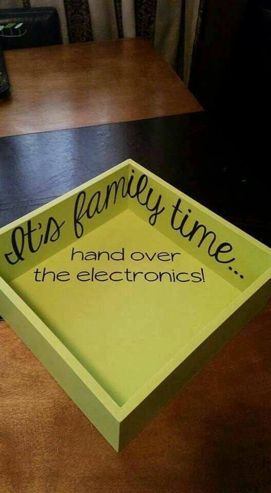 It's Family Time Hand over your Electronics Wooden Box....these are the BEST Family Organization ideas!