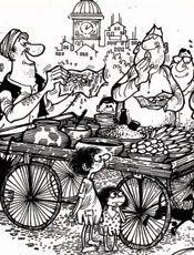 Orignal prints of Mario de Miranda!  Street food in India.