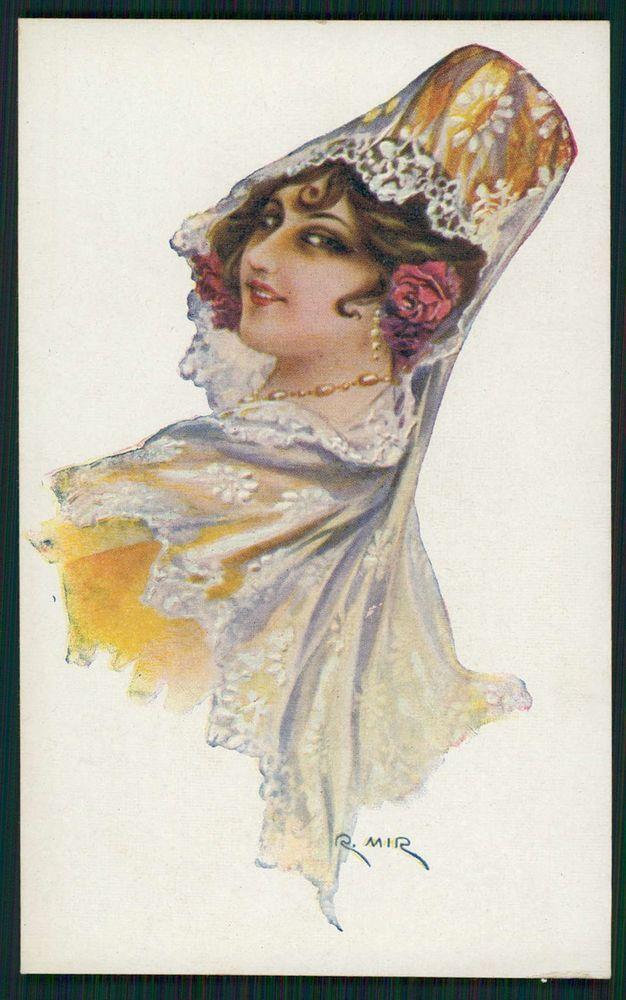 art MIR Spanish Lady Flamenco Dancer Hairdo original 1910s postcard a