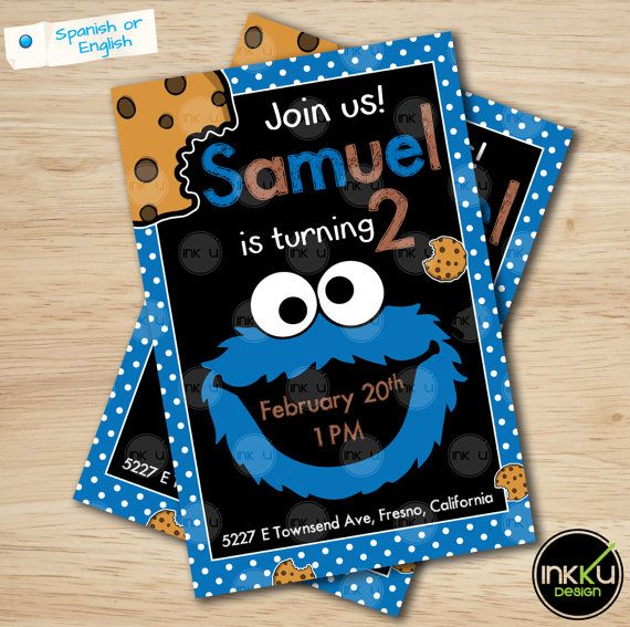 Cookie monster Invite Cookie monster invitation by InkkuDesign