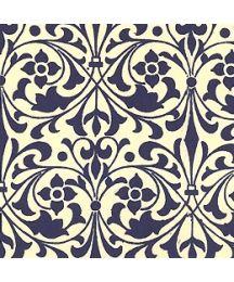 Blue Stylized Flower Print Italian Paper ~ Carta Varese Italy