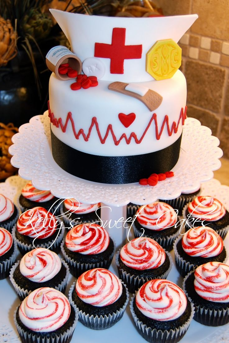 Here is a new nursing cake with cupcakes. Finally one that looks doable. A lot of pinterest cakes are really crazy hard looking