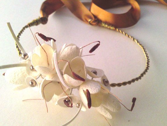 SALE  Pure silk cocoon flower and swarovski bridal by Ammoudia, $60.00
