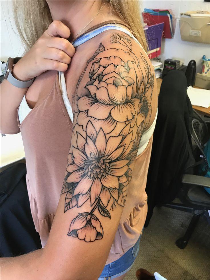 Floral half sleeve tattoo