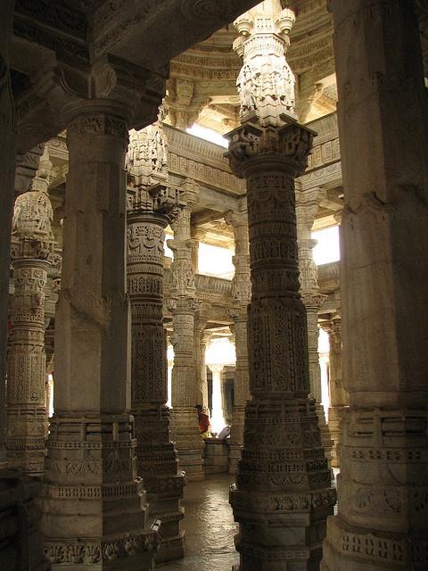 columned interior of ranakpur jain temple, udaipur