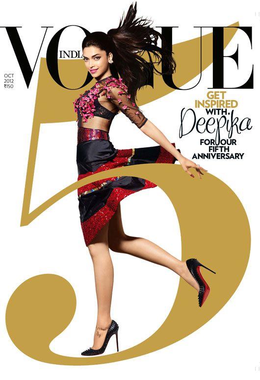 Deepika Padukone wearing Manish Arora Vogue India 5th anniversary cover series