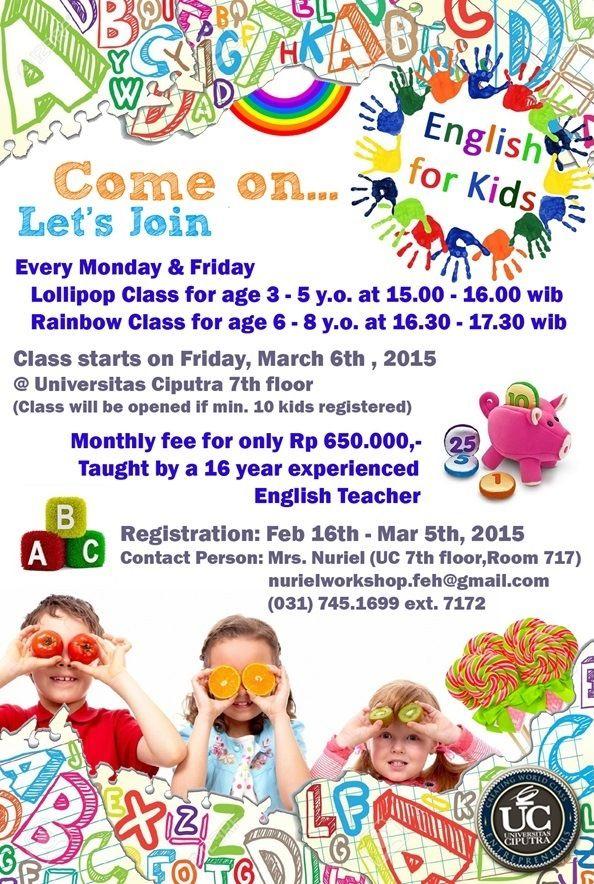 English for Kids - Universitas Ciputra 031-7451699 ext. 7172