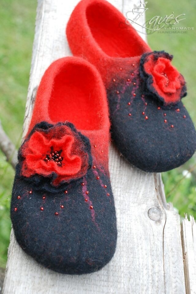 Red and black- handfelted slippers/ home shoes, size Us 6-  READY TO SHIP. $63.00, via Etsy.