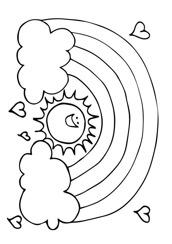 Rainbow Coloring Page With Images Sun Coloring Pages Coloring Pages Nature Rainbow Drawing