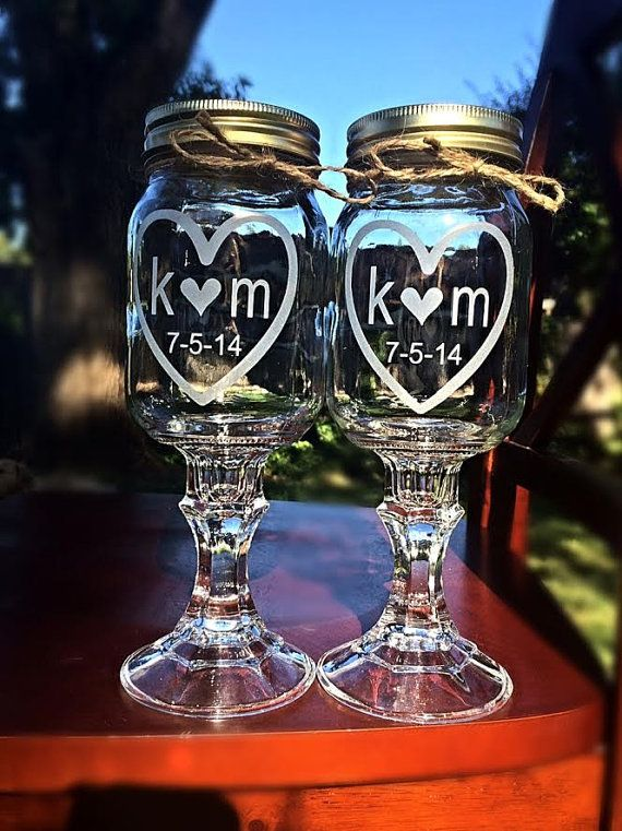 Mason Jar Wine Glass, 2 Redneck Wine Glasses, 2 Personalized Etched Glass on Etsy, $24.00