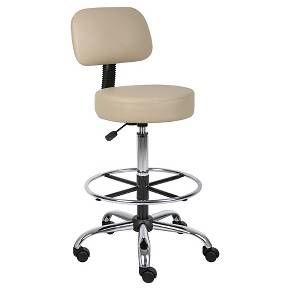"Boss Medical Stool's ergonomic design emulates the natural shape of the spine to increase comfort and productivity. Upholstered in durable Caressoft vinyl for easy maintenance and cleaning. Adjustable seat height with a 6"" vertical height range. Attractive chrome finish on the base, foot ring and gas lift."