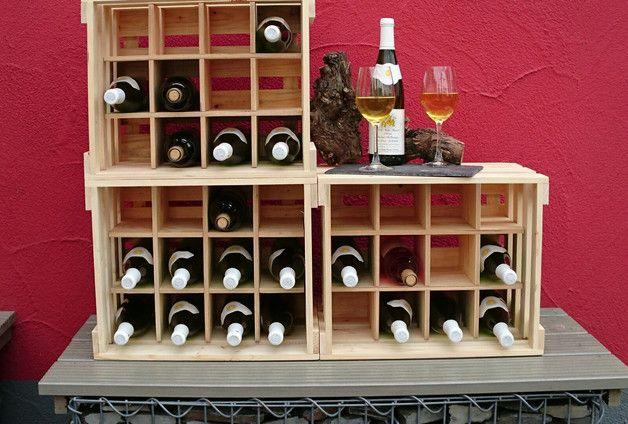 Weinregale - Weinregal, Weinkiste, Flaschenkorb, Flaschenregal - ein Designerstück von Kistenherbert bei DaWanda