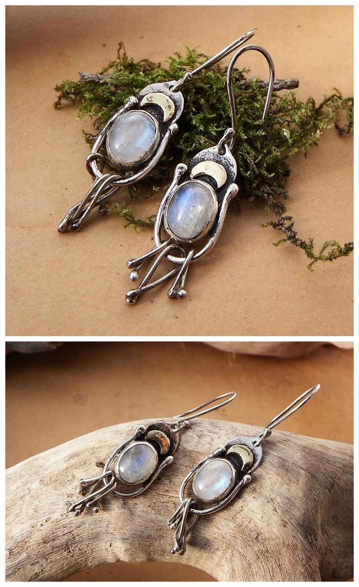 Moonglow Earrings by Alice Savage. Handmade artisan jewelry. Sterling silver, brass and Rainbow Moonstone. Bohemian, boho chic, hippie, gypsy, moonchild, witch, fantasy